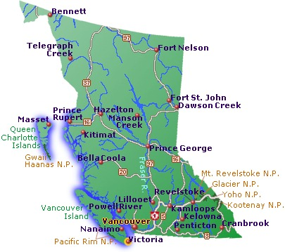 British Columbia Map of Cities and Highways