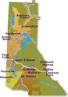 Plummer Idaho Map.North Idaho Map Go Northwest A Travel Guide