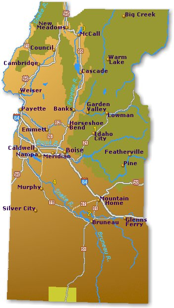 Southwest Idaho Map Go Northwest A Travel Guide - Map of idaho with cities