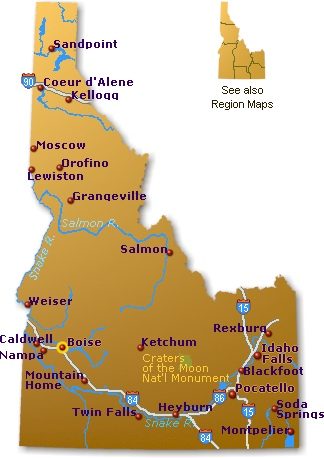 Idaho Map Go Northwest A Travel Guide - Map of idaho with cities