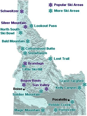 Idaho Map of Downhill Ski Areas  Go Northwest A Travel Guide