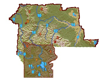 South Central Montana Relief Map - Go Northwest! Travel Guide