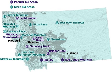 Map Of Downhill Ski Areas In Montana