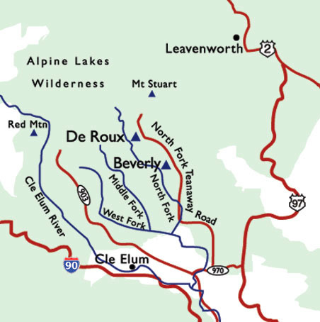 Map of North Fork Teanaway River Area Campgrounds  Go Northwest