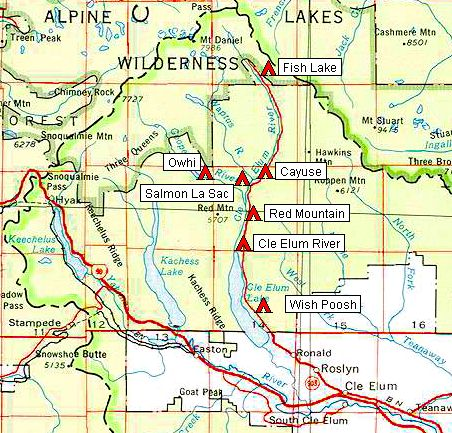Map of Upper Cle Elum Valley Campgrounds   Go Northwest! A Travel