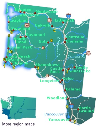 Town And Road Map Of Southwest Washington State Showing Highways And Tourist Attractions