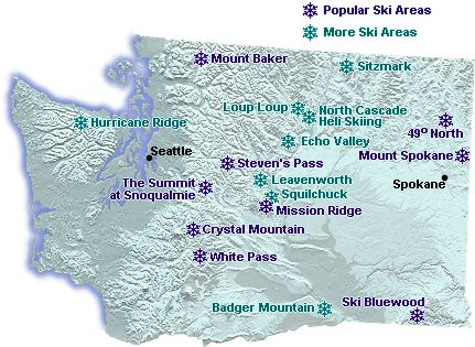 National Parks In Washington State Map.Map Of Downhill Ski Areas In Washington State Go Northwest A