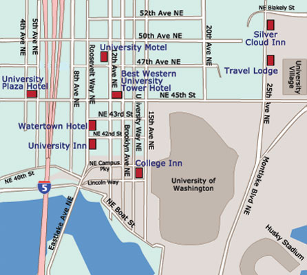 Map Seattle University District Hotels And Motels  Go