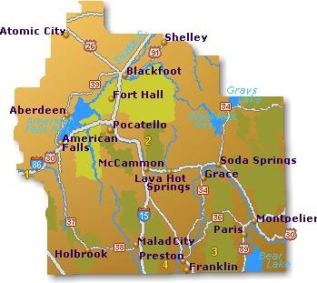 Southeast Idaho Map  Go Northwest A Travel Guide