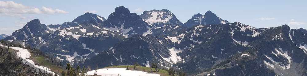 View of Seven Devils Mountains with snow