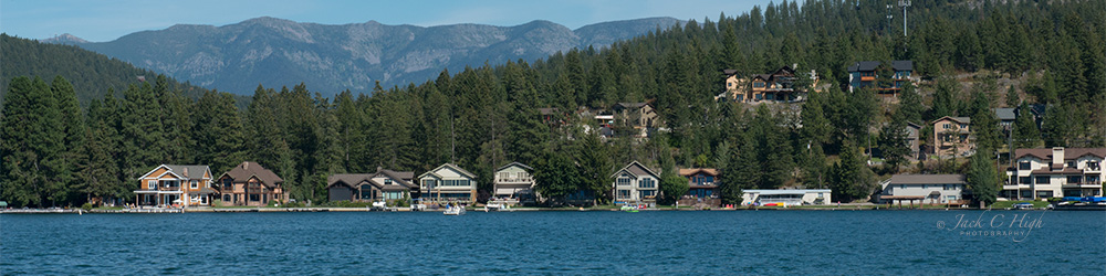 Homes on the shore Flathead Lake.