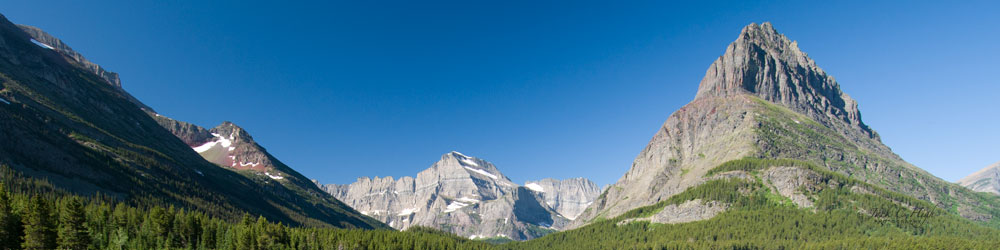 Peaks and valleys within Glacier National Park.
