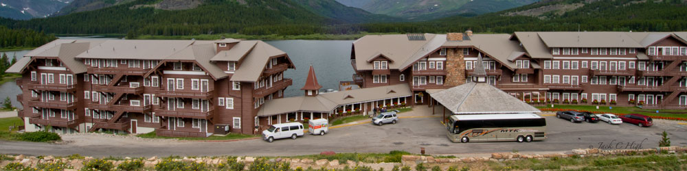 Many Glacier Hotel parking lot on the banks of Swiftcurrent Lake at Glacier National Park
