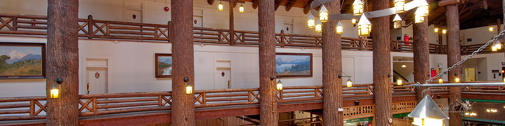Inside lodge with pictures of Glacier National Prk