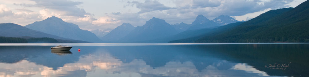 Stunning view on Lake McDonald inside Glacier National Park