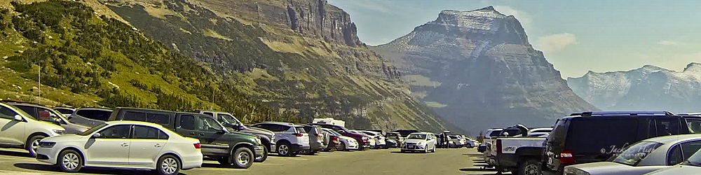 Cars at scenic Logan Pass
