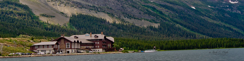 Swiftcurrent Motor Inn on water inside Glacier National Park
