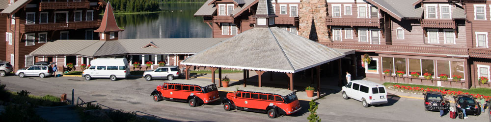 Lodging offers red bus tours at Glacier National Park