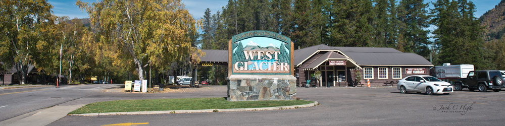 Welcome sign to West Glacier