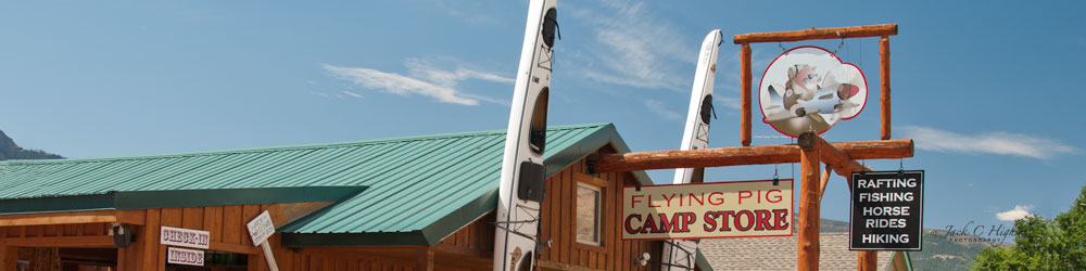 Get sporting goods and supplies out the Flying Pig Camp Store