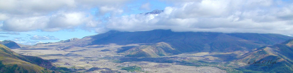 Panaromic view of Mount St Helens with plenty of cloud coverage