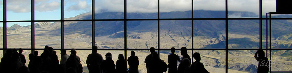 Looking at Mt St Helens from inside visitor center