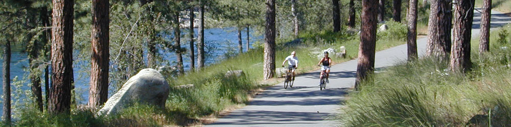 Bicycling on the Centenial Trail along the Spokane River