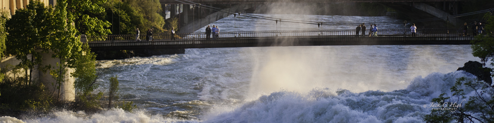 View of the beautiful Spokane Falls from the Monroe Strret Bridge in downtown Spokane
